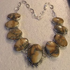 Vintage 925 howlite  necklace